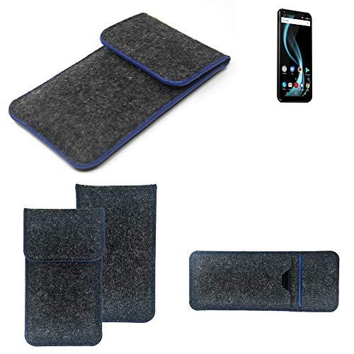 K-S-Trade® Filz Schutz Hülle Für -Allview X4 Soul Infinity Plus- Schutzhülle Filztasche Pouch Tasche Case Sleeve Handyhülle Filzhülle Dunkelgrau, Blauer Rand Rand