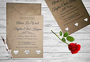 Personalised Handmade Wedding Invitation Invite x 50 Vintage Kraft Brown Rustic WI1