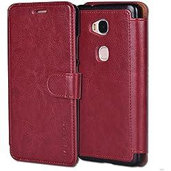 Mulbess Coque Huawei Honor 5X, Étui Coque en Cuir pour Honor 5X [Housse Pochette Portefeuille avec Layered Style] Wine Red