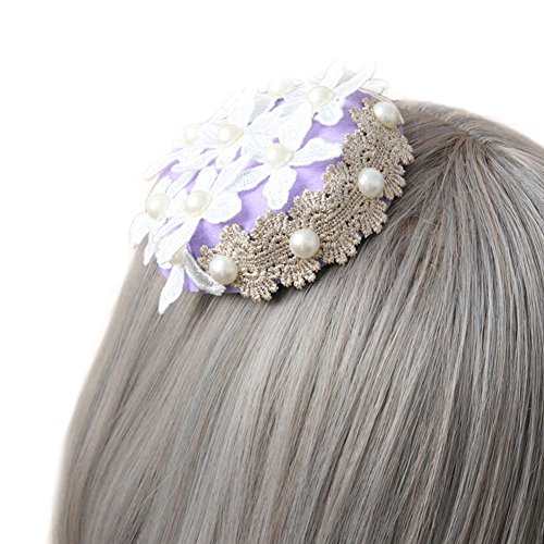 Peacoco Flowers Lace Fascinator Wedding Hair Clip Mini Top Hat for Girls Purple White Flower