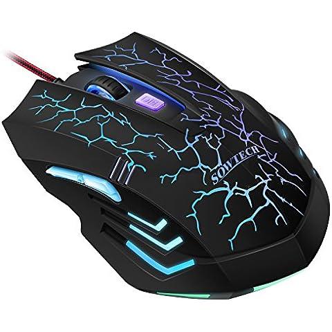 Mouse Gaming 2400 DPI, SOWTECH(TM) 6 Tasto Con Luci Colorate USB Mouse Wired Mouse di Gioco per i Giocatori di DPI Commutazione Regolabile Funzione per Gioco Pro Notebook PC del Computer Portatile