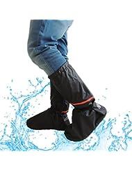 Lange Regenüberschuhe, 2win2buy Wasserdichte Überschuhe Rutschfester Schuhüberzieher Stiefel Hochbelastbar Schnee Staub Öl Regen Schutz. Perfekt für Outdoor Aktivitäten Camping Radfahren Bergsteigen, Schwarz