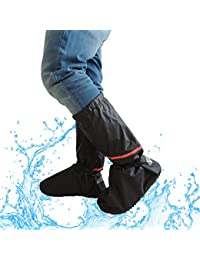 Overshoes Rain Boots, 2win2buy Washable Clean Shoe Cover Zippered Anti Slip Waterproof Polyester Elastic Bands and Reflective Heel Foldable Design, Black