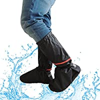 Overshoes Rain Boots, 2win2buy Washable Clean Shoe Cover Zippered Anti Slip Waterproof Polyester Elastic Bands and Reflective Heel Foldable Design, Black M