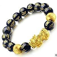 Zinniaya Fashionable Natural Stone Black Obsidian Pixiu Bracelet Pixiu Lucky Brave Troops Charms Jewelry for Women & Men