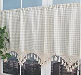 "Linen Cafe Curtain, European Rural Style Handmade Natural Cotton Crochet Plaid Kitchen Curtain Valances 27"" x 70"", Off-White"
