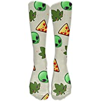 hat pillow Leafs, Pizza Slices And Aliens Comfort Cool Vent Crew Socks,One Size