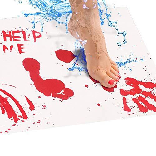 TIREOW Halloween Fußmatte, Blutige Farbänderung Türmatte Fußabtreter Schmutzfangmatte Rutschfest & Waschbar Teppiche Hochflor für Wohnzimmer, Esszimmer