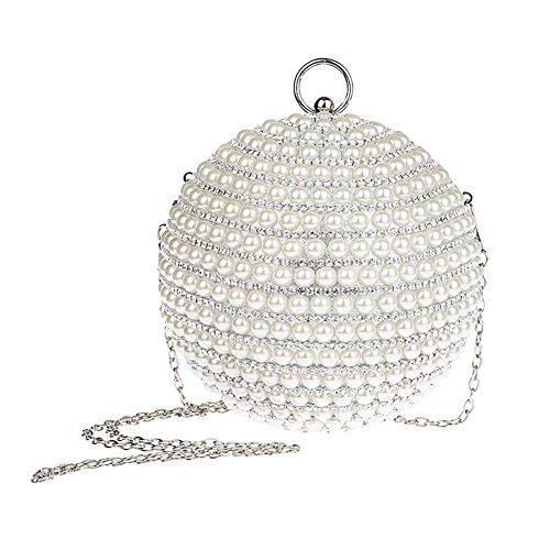 Genda 2Archer Bello Borsa del Partito Della perla Della Sfera Borsa di Cristallo di Strass del Rhinestone (14cm* 14cm) Argento