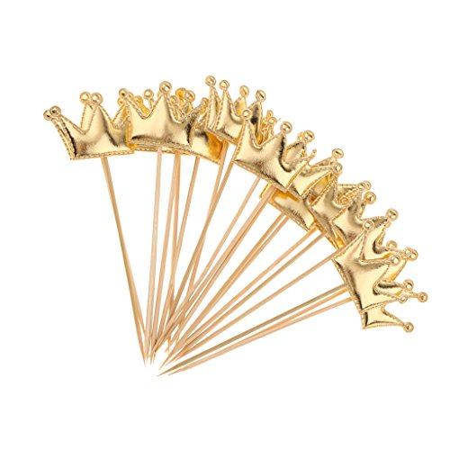 m Kuchen Cupcake Topper Party Dekor Lieferungen aus PU Leder - Gold, 13 x 4,5 cm ()