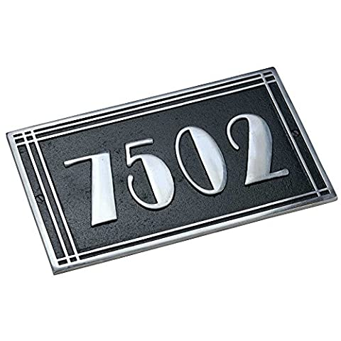 Personalized House Number Plates By The Metal Foundry Ltd – 1 Piece Art Deco Lined Style Casting House Address Signs Hand Made Of Solid Cast Aluminum – Customizable Plates That Display Numbers, Letters & Special