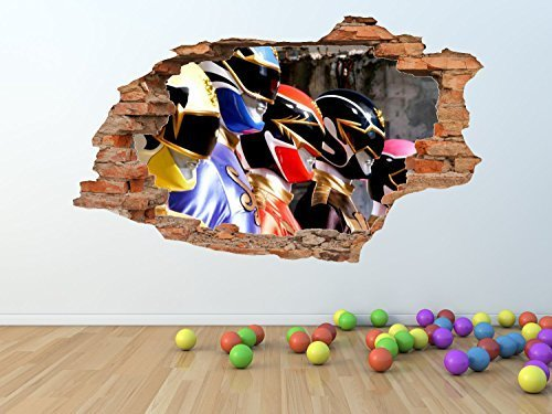 Image of POWER RANGERS BROKEN / SMASHED WALL Effect Wall Art Sticker *GIANT SIZES* - pw159 (GIANT 100 X 60 CM)