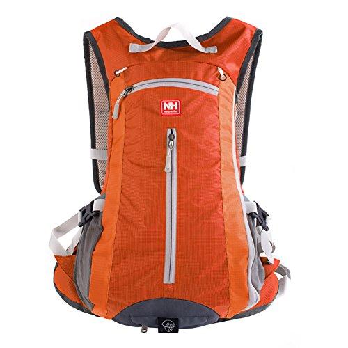 Outdoor peak Unisex Nylon wasserabweisend handlich Ultrasport Wanderrucksack gute Gasdurchlaessigkeit Radfahrrad Trekkingrucksack Reisetasche Laptop-Tasche Schultasche Bergsteigen Arbeitestasche 15Lit Orange