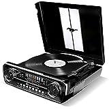 ION Audio Mustang LP Black-Tourne Disque Rétro Ford Mustang 1965 4-en-1 avec Haut-parleurs, FM Radio, Entrée Aux et USB Noir