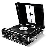 ION Audio Mustang LP - Centro de Música 4-en-1 con Diseño de Radio de Coche Clásico, con Giradiscos, Radio, USB y Entradas Auxiliares, además de Altavoces Estéreo a Bordo con Gran Sonido, Color Negro