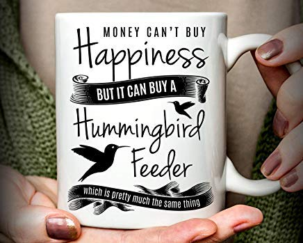 LECE Hummingbird Gift | Hummingbird Mug | Money Can't Buy Happiness but it can Buy a Hummingbird Feeder Mug, Happiness Mug