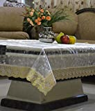 #9: RST Transparent 3D Design Center Table Cover 4 Seater 40*60 Inches (Golden Lace)