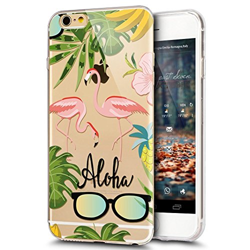iPhone 6S Plus Hülle,iPhone 6 Plus Hülle,iPhone 6 / 6S Plus Schutzhülle,JAWSEU Weiche Silikon Klar TPU Hülle Kratzfeste Bumper Tasche Durchsichtig Schutzhülle für iPhone 6/6S Plus, Blumen Flamingo Kun Flamingo#6