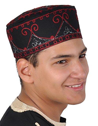 Egypt Bazar Traditionelle Arabische Kopfbedeckung - Araber - Karnevalskostüm- schwarz/rot (KB0068)