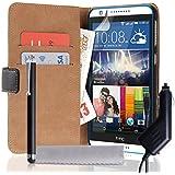 Caseflex HT-DA03-Z566CP Etui portefeuille en cuir avec stylet/chargeur allume-cigare pour HTC Desire 820 Noir