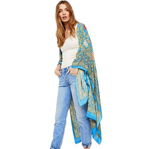 WUDUBE 2019 Nuovo Donna Camicetta a Scialle Sciolto in Kimono Sciolto con Stampa Lunga da S