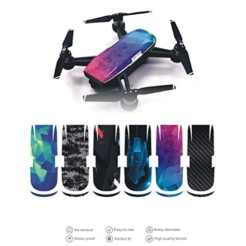 Preisvergleich Produktbild Foxom 6Pcs Wasserdicht Drohne Körper Decal Aufkleber Skin Sticker, Zubehör für DJI SPARK Drohne