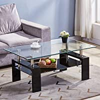GOLDFAN Rectangle Glass Coffee Tables High Gloss Storage Side Table with Lower Shelf Modern Living Room Furniture/Black