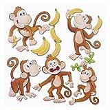 Stickerkoenig Wandtattoo XXL 3D Sticker Wandsticker - niedliche Affen Äffchen #572 Kinderzimmer Deko auch für Wände, Fenster, Schränke, Türen etc auf Bogen Wandaufkleber