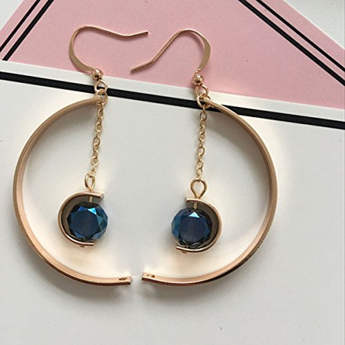 Fashion Exaggerated Semi-circulaire Long Chain Of Crystal Earrings,Gold