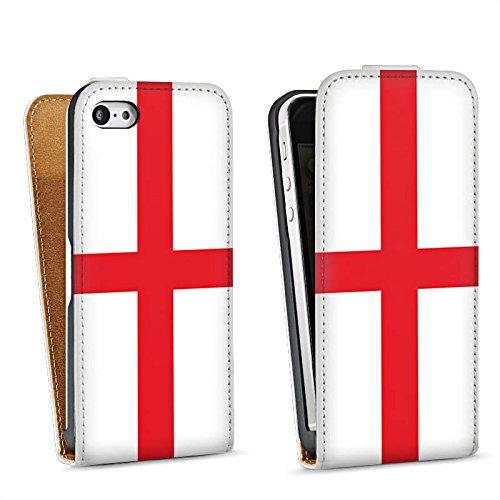 Apple iPhone 5s Housse Étui Protection Coque Angleterre Drapeau Ballon de football Sac Downflip blanc