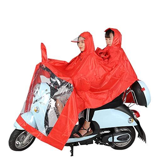 FQM Imperméable Moto Double Poncho Progressive - Protection Totale Pare-Soleil Panneau Transparent De Sécurité Circonscription Extérieure - Rouge