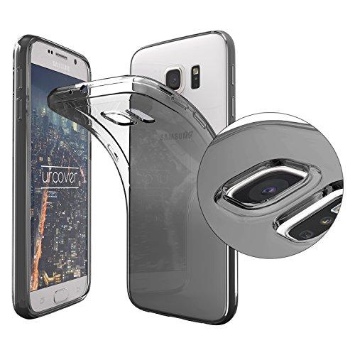 Urcover® Samsung Galaxy S6 [ KAMERASCHUTZ ] Handy Schutz-Hülle | TPU / Silikon Handyhülle Schwarz Transparent | Flexibel Ultra Slim Dünn | Smartphone Zubehör Back-Case | Soft Crystal Cover Schale Zubehör-soft Case