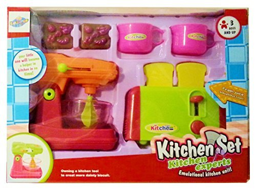 Lollipop Learning Fun - Kids Play Kitchen 2 Appliance Set with Mixer & Toaster and Accessories for Pretend Game Playtime Boys & Girls