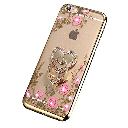 JAWSEU Coque pour iPhone 7 Plus en Silicone Avec Diamant,iPhone 7 Plus Etui Transparent Souple Coque,2017 Neuf Luxe Placage avec Or Sparkles Brillante Cristal Strass Case pour Femme Homme,Ultra Mince  rose fleur/sparkle