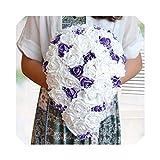 laohu123 lila weißer Kristallhochzeits-Hochzeits-Brautstrauß-Wasserfall-Brosche Buque künstlich, rot
