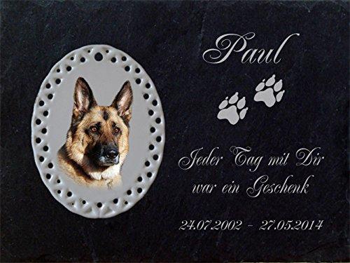 """Schiefertafel mit wetterfester Lasergravur des Motives """"Hund-037"""" (mit dem Musterbild oder Ihrem eigenen Foto - siehe Auswahl) und Ihrem Text/Daten in der gewünschten Schriftart z.B. als Grabschmuck auf das Grab oder als Schmucktafel für Zuhause von LaserArt24"""