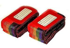 Guilty Gadgets Lot de 2 sangles à bagages colorées réglables