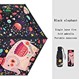 WANBAOYS Ombrello Ultraleggero Protezione Solare Femminile Protezione UV 50% Mini Ombrello Upf50 + (Color : Black Elephant)