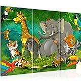 Bilder Afrika Tiere Wandbild 120 x 80 cm Vlies - Leinwand Bild XXL Format Wandbilder Wohnzimmer Wohnung Deko Kunstdrucke Grün 3 Teilig - Made IN Germany - Fertig zum Aufhängen 001831a