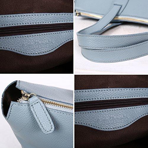 Leathario sac femme sac à main pour femme sac bandoulière cuir véritable sac à épaule sac loisirs sac shoppings pour femmes Bleu clair