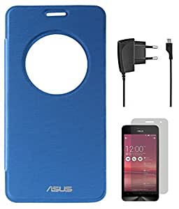 DMG Circle Window Flip Book Cover Case for Asus Zenfone 6 (Royal Blue) + Wall Charger + Matte Screen