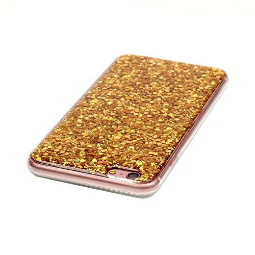 iPhone 6 Plus 6S Plus (5,5 Zoll) Hülle TPU Case Schutzhülle Silikon Crystal Case Durchsichtig Gold Glitzer