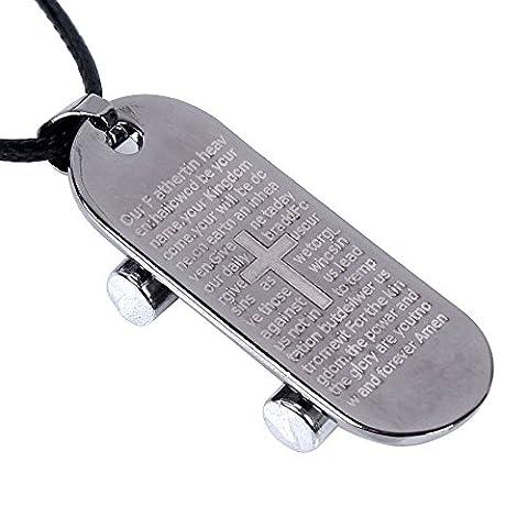 Kangqifen Schmuck Halskette,Titan Stahl Kreuz Skateboard Anhänger mit Leder Kette Verstellbar,Länge 42-47 cm