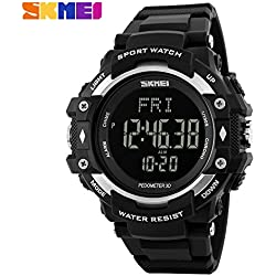 Multifunction Climbing Dive LCD men's Wristwatch digital Sport Watches 50M Waterproof Men Digital Watches(Silver)