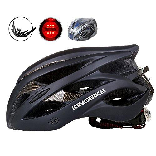 KINGBIKE Casco de Ciclismo Bicicleta Carretera de Ruta MTB para Adulto Hombre Mujer Con Luz Trasera de Seguridad LED / con Protección Contra la Lluvia Cubierta / con Visera de Sol Extraíble / Ligera / Cómoda / 59-63CM