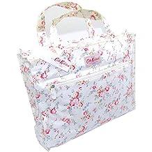 Cath Kidston - Bolso de asas para mujer Blanco Weiß mit Rosa Blüten Länge: 39
