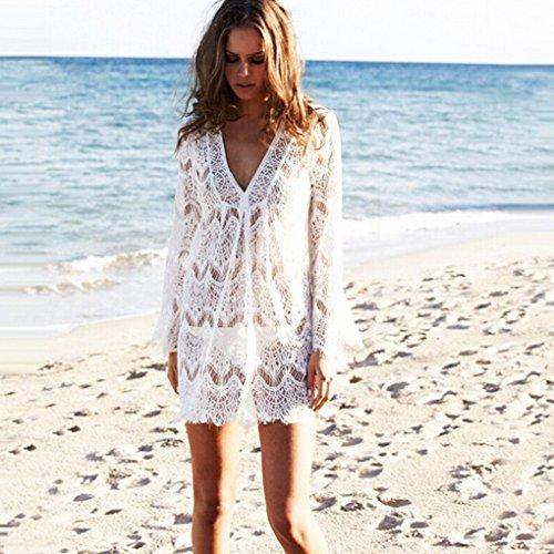 LITTLE SORREL Donna Sexy Elegante V Neck Lace Mini Abito Vestito da Mare Pizzo Hollow Out Spiaggia Bikini Coprire Pareo Beachwear Bianco