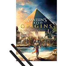 Póster + Soporte: Assassin's Creed Póster (91x61 cm) Origins, Cover Y 1 Lote De 2 Varillas Negras 1art1®