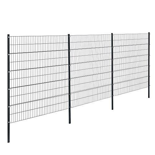 [pro.tec] Doppelstabmattenzaun - 6 x 2 m - Eisen Gartenzaun Metallzaun Set (grau)