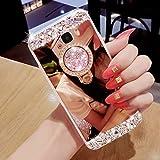 Hancda Hülle für Samsung Galaxy S9, Hülle Case Handyhülle Glitzer Spiegel Diamant Glitter Bling Glänzend Cover Silikonhülle Tasche Case mit Ring Ständer Stand für Samsung Galaxy S9 - Rose Gold